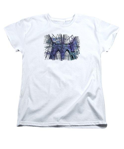 Brooklyn Bridge Berry Blues 3 Dimensional Women's T-Shirt (Standard Cut) by Di Designs