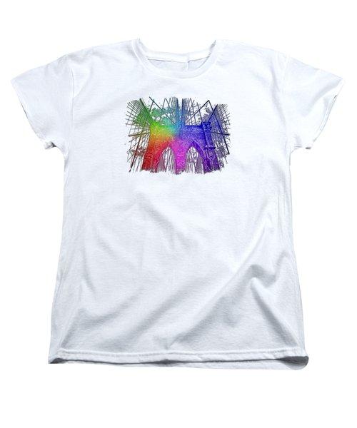 Brooklyn Bridge Cool Rainbow 3 Dimensional Women's T-Shirt (Standard Cut) by Di Designs