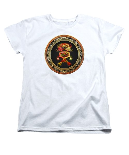 Brotherhood Of The Snake - The Red And The Yellow Dragons On White Leather Women's T-Shirt (Standard Cut) by Serge Averbukh