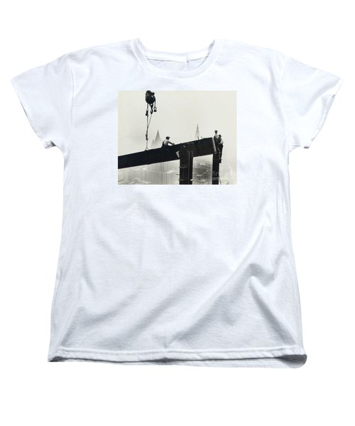 Building The Empire State Building Women's T-Shirt (Standard Cut) by LW Hine
