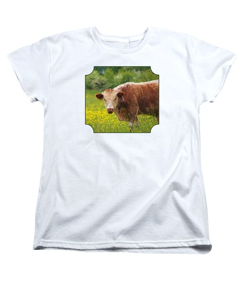 Buttercup - Brown Cow Women's T-Shirt (Standard Cut) by Gill Billington