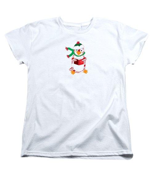 Candy Cane Penguin Women's T-Shirt (Standard Cut) by Jane E Rankin