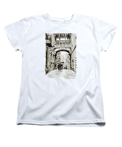 Carrer Del Bisbe - Barcelona Black And White Women's T-Shirt (Standard Cut) by Marian Voicu