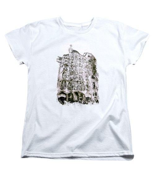Casa Batllo Barcelona Black And White Women's T-Shirt (Standard Cut) by Marian Voicu