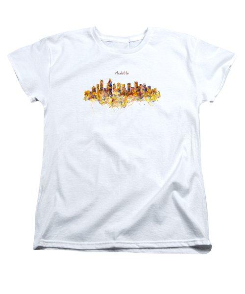 Charlotte Watercolor Skyline Women's T-Shirt (Standard Cut) by Marian Voicu