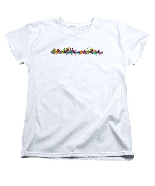 Chicago And St Louis Skyline Mashup Women's T-Shirt (Standard Cut) by Michael Tompsett