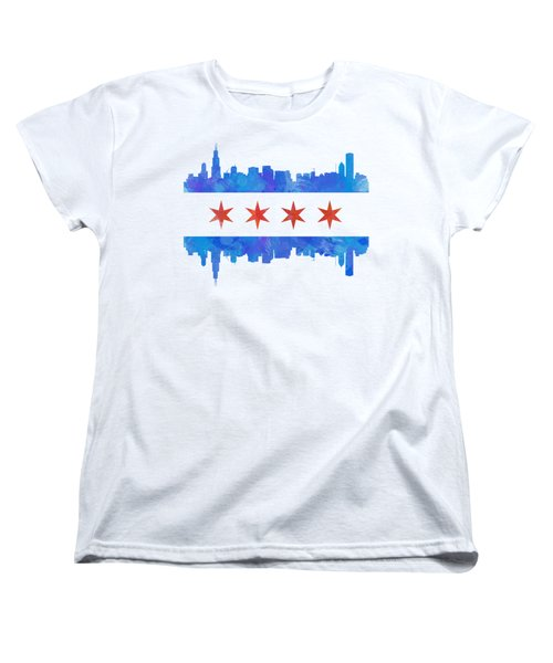 Chicago Flag Watercolor Women's T-Shirt (Standard Cut) by Mike Maher