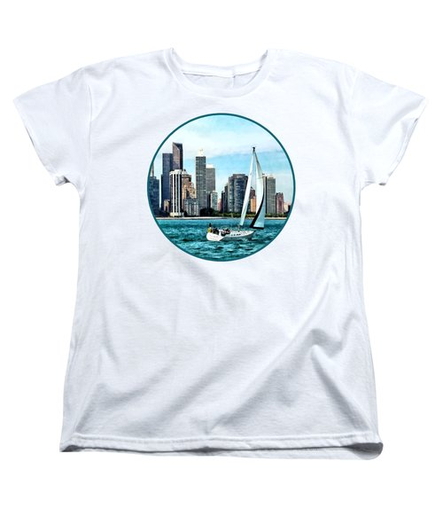 Chicago Il - Sailboat Against Chicago Skyline Women's T-Shirt (Standard Cut) by Susan Savad