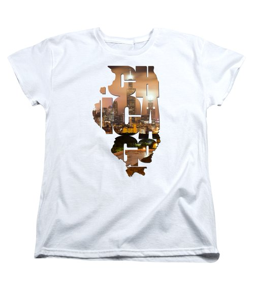 Chicago Illinois Typography - Chicago Skyline From The Rooftop Women's T-Shirt (Standard Cut) by Gregory Ballos