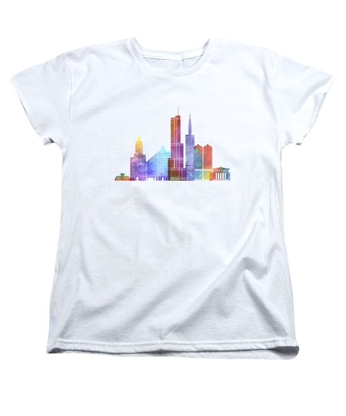 Chicago Landmarks Watercolor Poster Women's T-Shirt (Standard Cut) by Pablo Romero