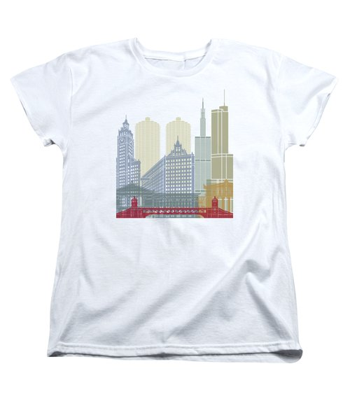 Chicago Skyline Poster Women's T-Shirt (Standard Cut) by Pablo Romero