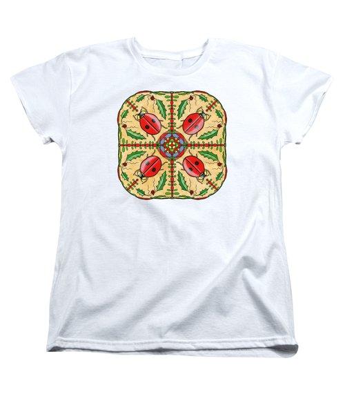 Christmas Ladybug Mandala Women's T-Shirt (Standard Cut) by Tanya Provines