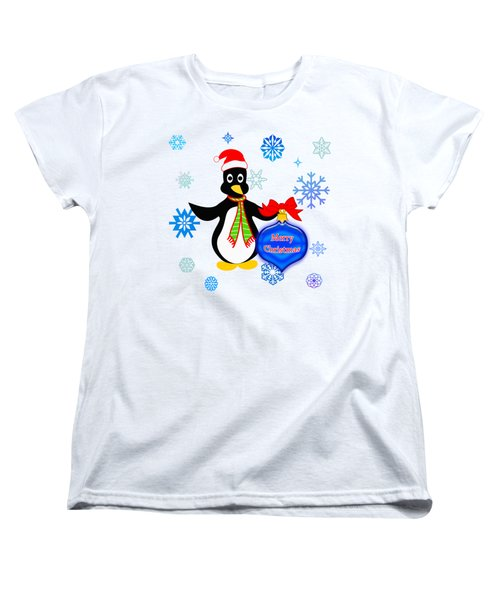 Christmas Penguin Women's T-Shirt (Standard Cut) by Methune Hively