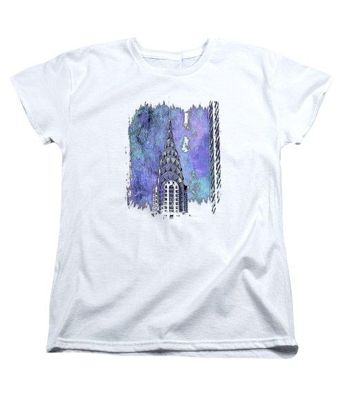 Chrysler Spire Berry Blues 3 Dimensional Women's T-Shirt (Standard Cut) by Di Designs