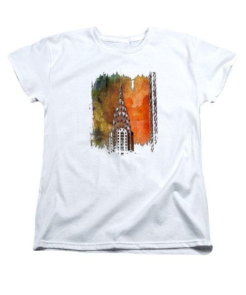 Chrysler Spire Earthy Rainbow 3 Dimensional Women's T-Shirt (Standard Cut) by Di Designs