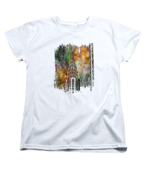 Chrysler Spire Muted Rainbow 3 Dimensional Women's T-Shirt (Standard Cut) by Di Designs