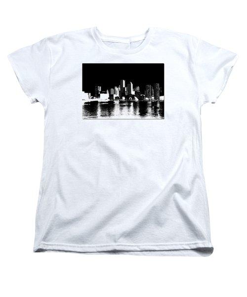 City Of Boston Skyline   Women's T-Shirt (Standard Cut) by Enki Art