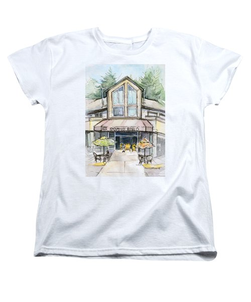 Coffee Shop Watercolor Sketch Women's T-Shirt (Standard Cut) by Olga Shvartsur