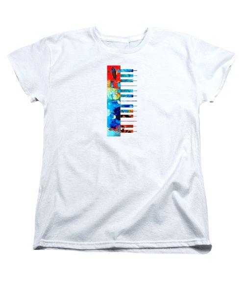 Colorful Piano Art By Sharon Cummings Women's T-Shirt (Standard Cut) by Sharon Cummings