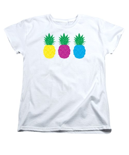 Colorful Pineapples Women's T-Shirt (Standard Cut) by Leah Hawkins