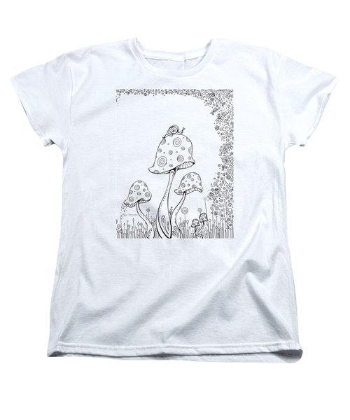 Coloring Page With Beautiful In The Garden 8 Drawing By Megan Duncanson Women's T-Shirt (Standard Cut) by Megan Duncanson