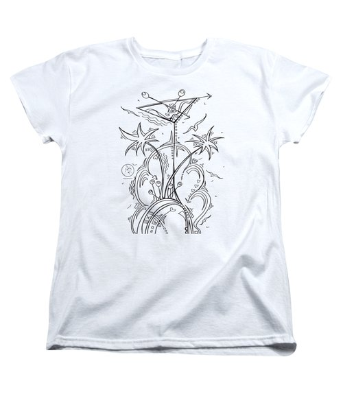 Coloring Page With Beautiful Tropical Martini Drawing By Megan Duncanson Women's T-Shirt (Standard Cut) by Megan Duncanson