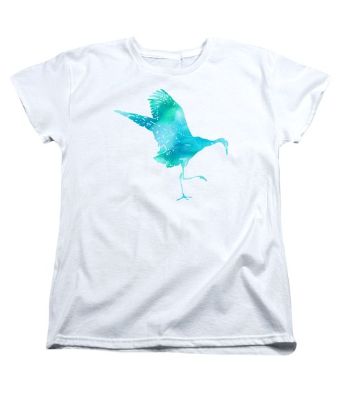 Crane Ready For Flight - Blue-green Watercolor Women's T-Shirt (Standard Cut) by Custom Home Fashions