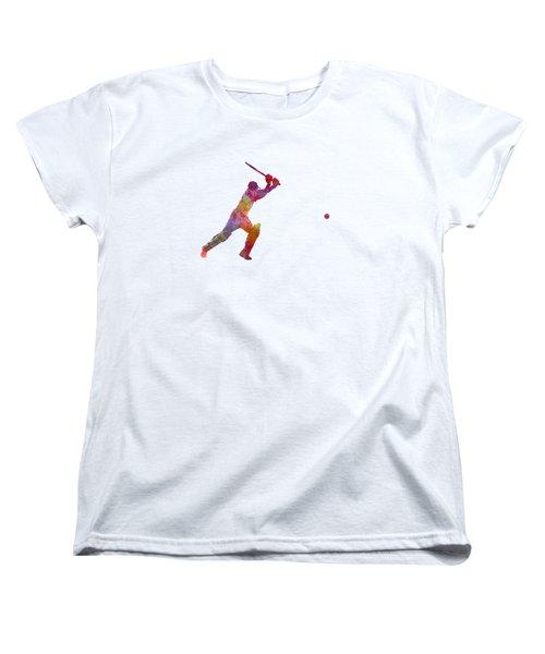 Cricket Player Batsman Silhouette 04 Women's T-Shirt (Standard Cut) by Pablo Romero