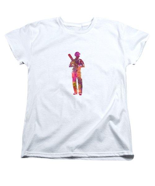 Cricket Player Batsman Silhouette 10 Women's T-Shirt (Standard Cut) by Pablo Romero
