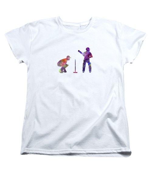 Cricket Player Silhouette Women's T-Shirt (Standard Cut) by Pablo Romero