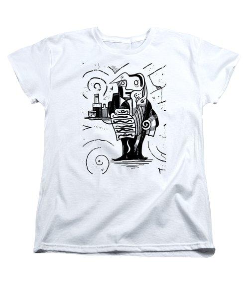 Cubist Waiter Women's T-Shirt (Standard Cut) by Erki Schotter