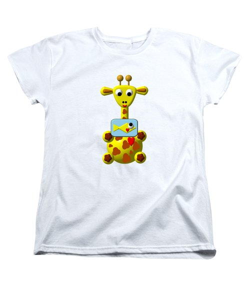 Cute Giraffe With Goldfish Women's T-Shirt (Standard Cut) by Rose Santuci-Sofranko