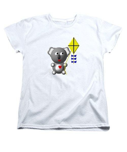 Cute Koala With Kite Women's T-Shirt (Standard Cut) by Rose Santuci-Sofranko