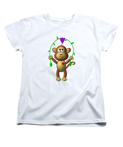 Cute Monkey Jumping Rope Women's T-Shirt (Standard Cut) by Rose Santuci-Sofranko