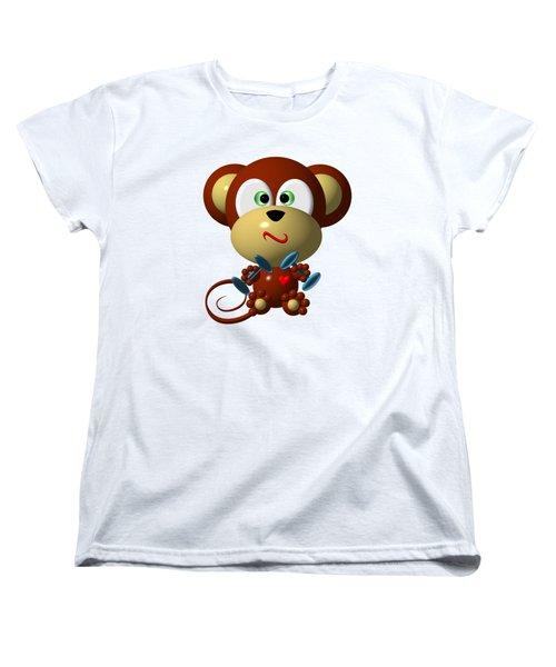 Cute Monkey Lifting Weights Women's T-Shirt (Standard Cut) by Rose Santuci-Sofranko