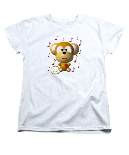 Cute Musical Monkey Women's T-Shirt (Standard Cut) by Rose Santuci-Sofranko