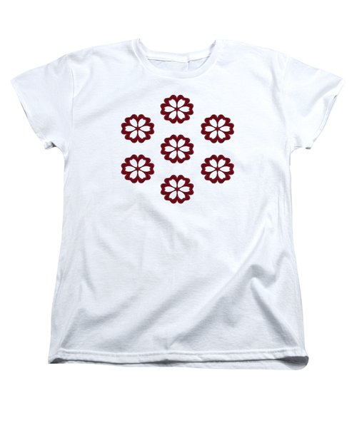 Cyber Flower Red Women's T-Shirt (Standard Cut) by Daniel Hagerman