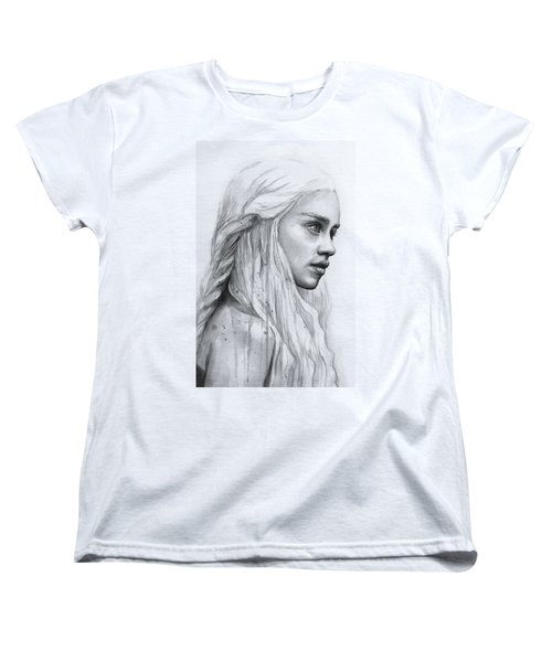 Daenerys Watercolor Portrait Women's T-Shirt (Standard Cut) by Olga Shvartsur