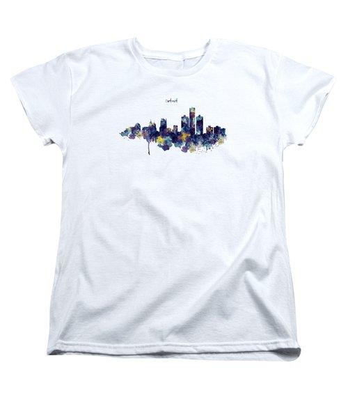 Detroit Skyline Silhouette Women's T-Shirt (Standard Cut) by Marian Voicu