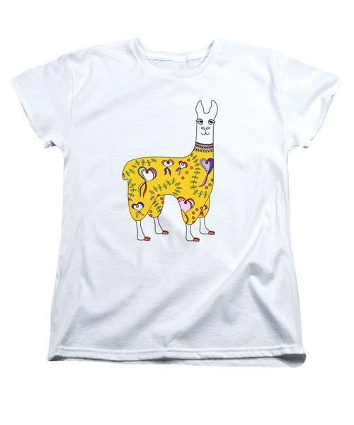 Difficult Llama Yellow Women's T-Shirt (Standard Cut) by Sarah Rosedahl