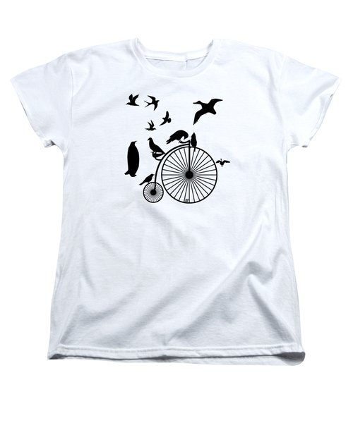 Dude The Birds Are Flocking Transparent Background Women's T-Shirt (Standard Cut) by Barbara St Jean