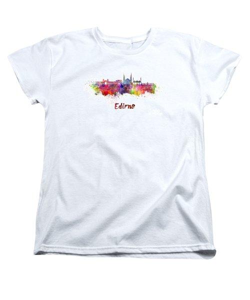 Edirne Skyline In Watercolor Women's T-Shirt (Standard Cut) by Pablo Romero
