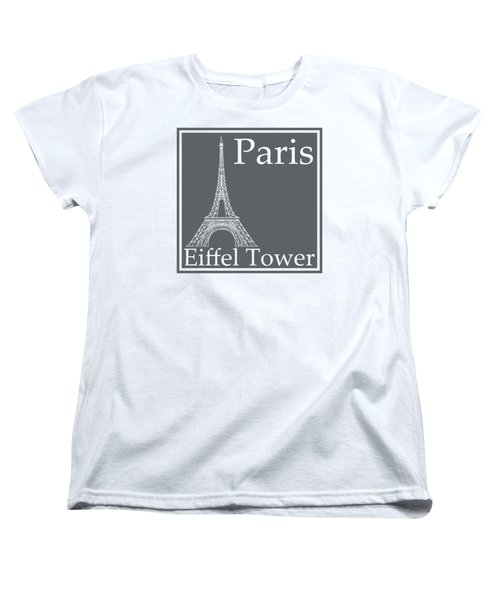Eiffel Tower In Storm Gray Women's T-Shirt (Standard Cut) by Custom Home Fashions