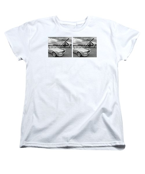 Eleanor Mustang With P51 Black And White Women's T-Shirt (Standard Cut) by Gill Billington