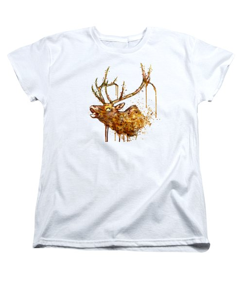 Elk In Watercolor Women's T-Shirt (Standard Cut) by Marian Voicu