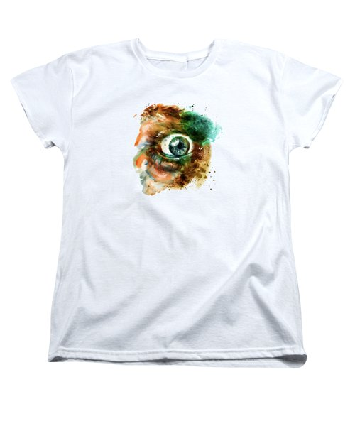 Fear Eye Watercolor Women's T-Shirt (Standard Cut) by Marian Voicu