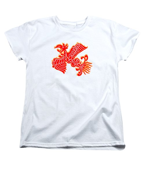 Flaming Red Phoenix Rising Women's T-Shirt (Standard Cut) by Nathan Beardsley