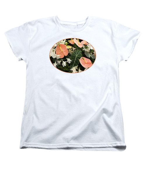 Flamingo Flowers And Orchids Women's T-Shirt (Standard Cut) by Gill Billington