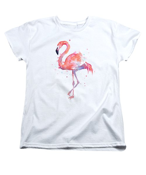 Flamingo Love Watercolor Women's T-Shirt (Standard Cut) by Olga Shvartsur