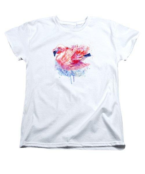 Flamingo On The Water Women's T-Shirt (Standard Cut) by Marian Voicu